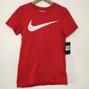 The Nike tee athletic cut red white lace swoosh S